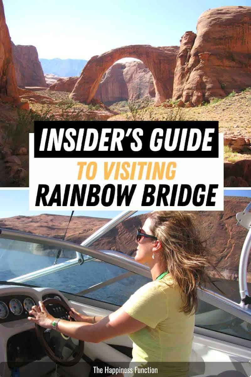 top photo: view of sacred Rainbow Bridge National Monument, bottom photo: girl boating at Lake Powell to Rainbow Bridge National Monument