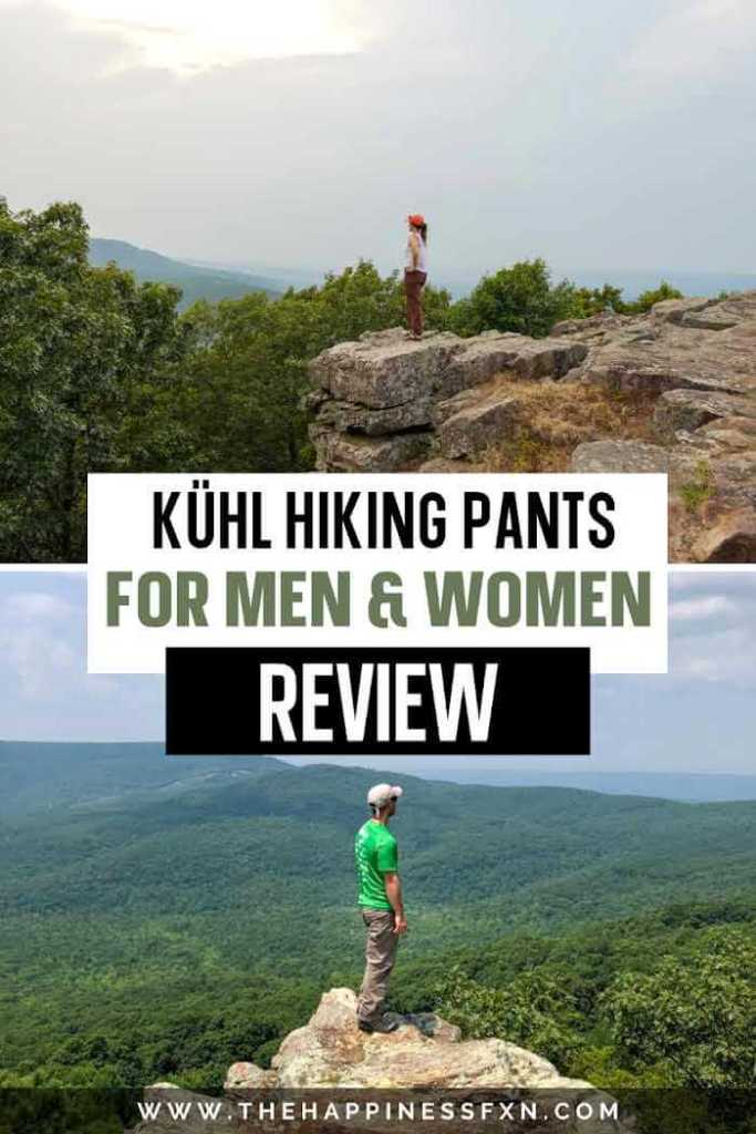 Top photo: girl standing on rocks with Kuhl hiking pants overlooking mountains, bottom photo: man standing on rocks with Kuhl hiking pants overlooking mountains
