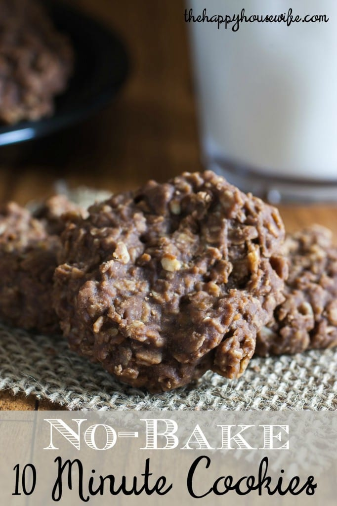 Chocolate, peanut butter, and oatmeal no-bake cookies that only take 10 minutes.