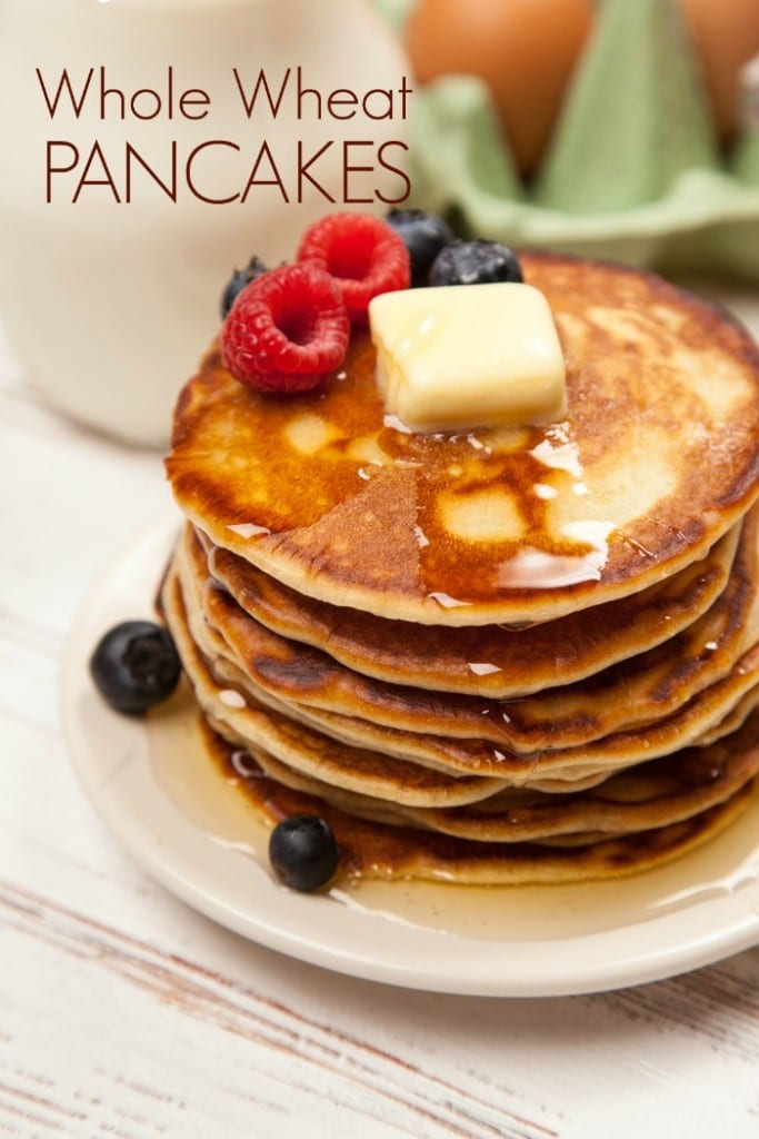 These fluffy whole wheat pancakes are better for you than the box mix and only take about 5 minutes to mix up.