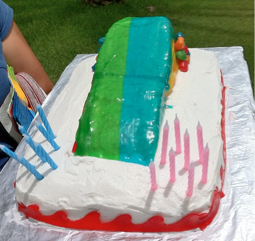 Water Slide Cake at The Happy Housewife