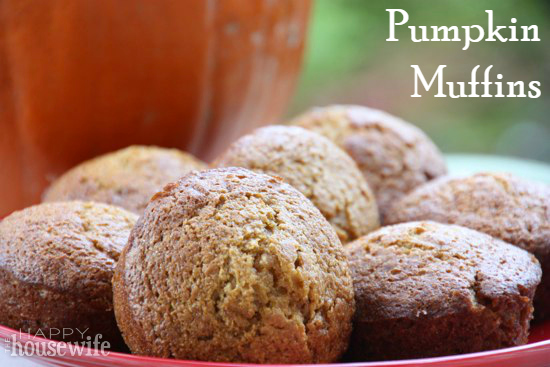 Pumpkin Muffins at The Happy Housewife