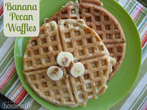 Banana Pecan Waffles from The Happy Housewife