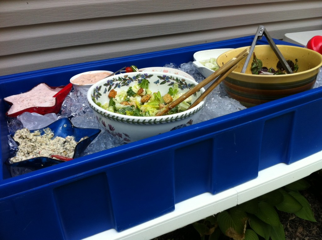Don't let food go bad at BBQ's this summer. This is an easy way to keep the cold foods cold even when they are sitting outside during a hot summer day.
