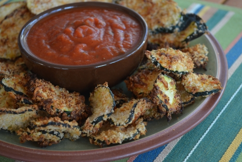 Baked Zucchini Chips at The Happy Housewife