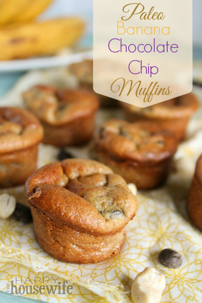 Paleo Banana Chocolate Chip Muffins | The Happy Housewife
