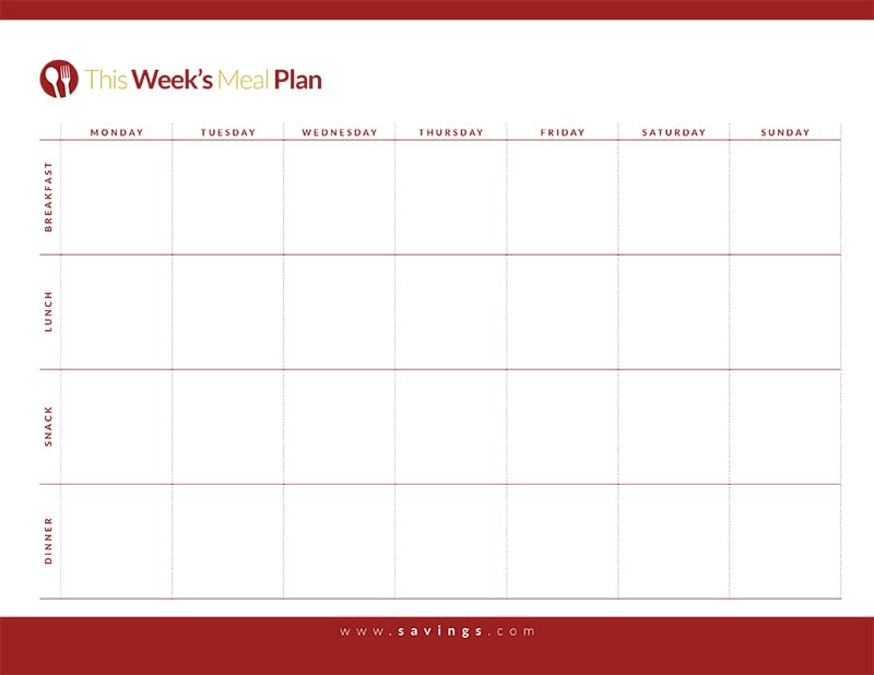 Weekly Meal Plan With Breakfast Lunch Dinner And Snacks