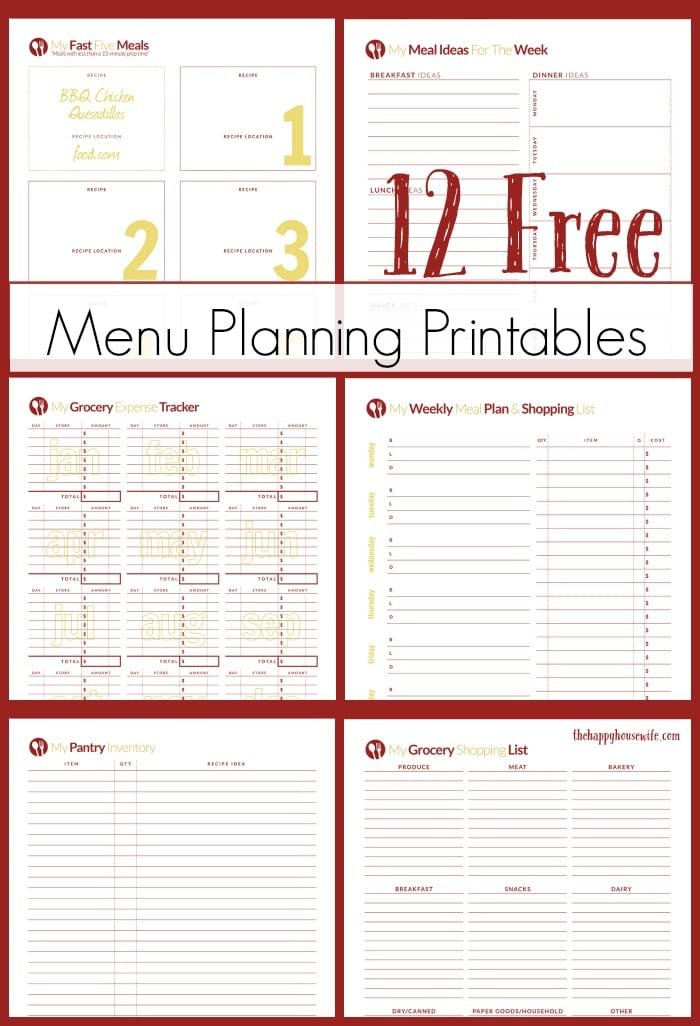 graphic relating to Meal Planner Free Printable titled Free of charge Printables for Evening meal Building - The Pleased Housewife