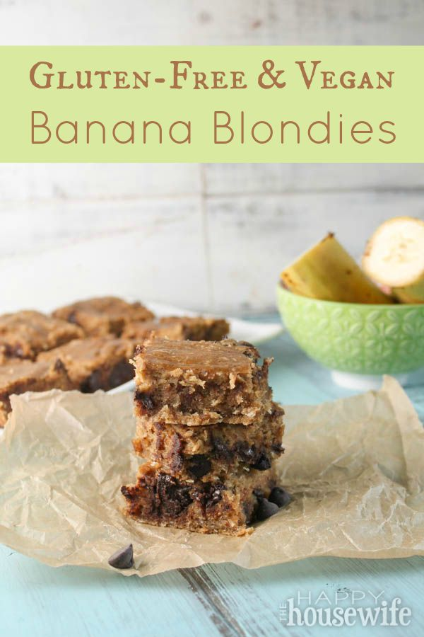 Gluten Free & Vegan Banana Blondies at The Happy Housewife