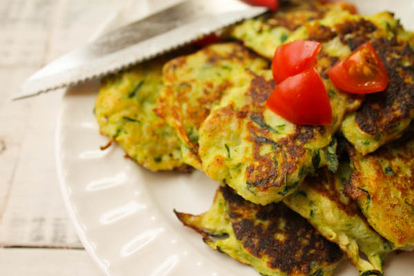 Gluten Free Zucchini Latkes with Paleo Option at The Happy Housewife