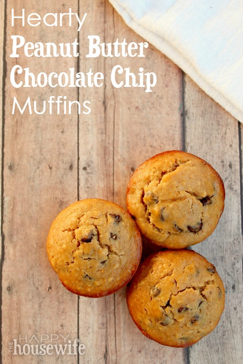 Hearty Peanut Butter Chocolate Chip Muffins at The Happy Housewife