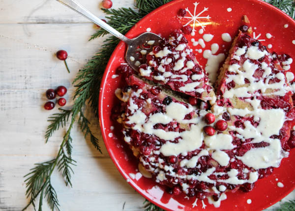 This Gluten-Free Upside Down Cranberry Coffee Cake is made with much less sugar than most recipes. It's a a fun breakfast cake for any holiday occasion. Found at The Happy Housewife