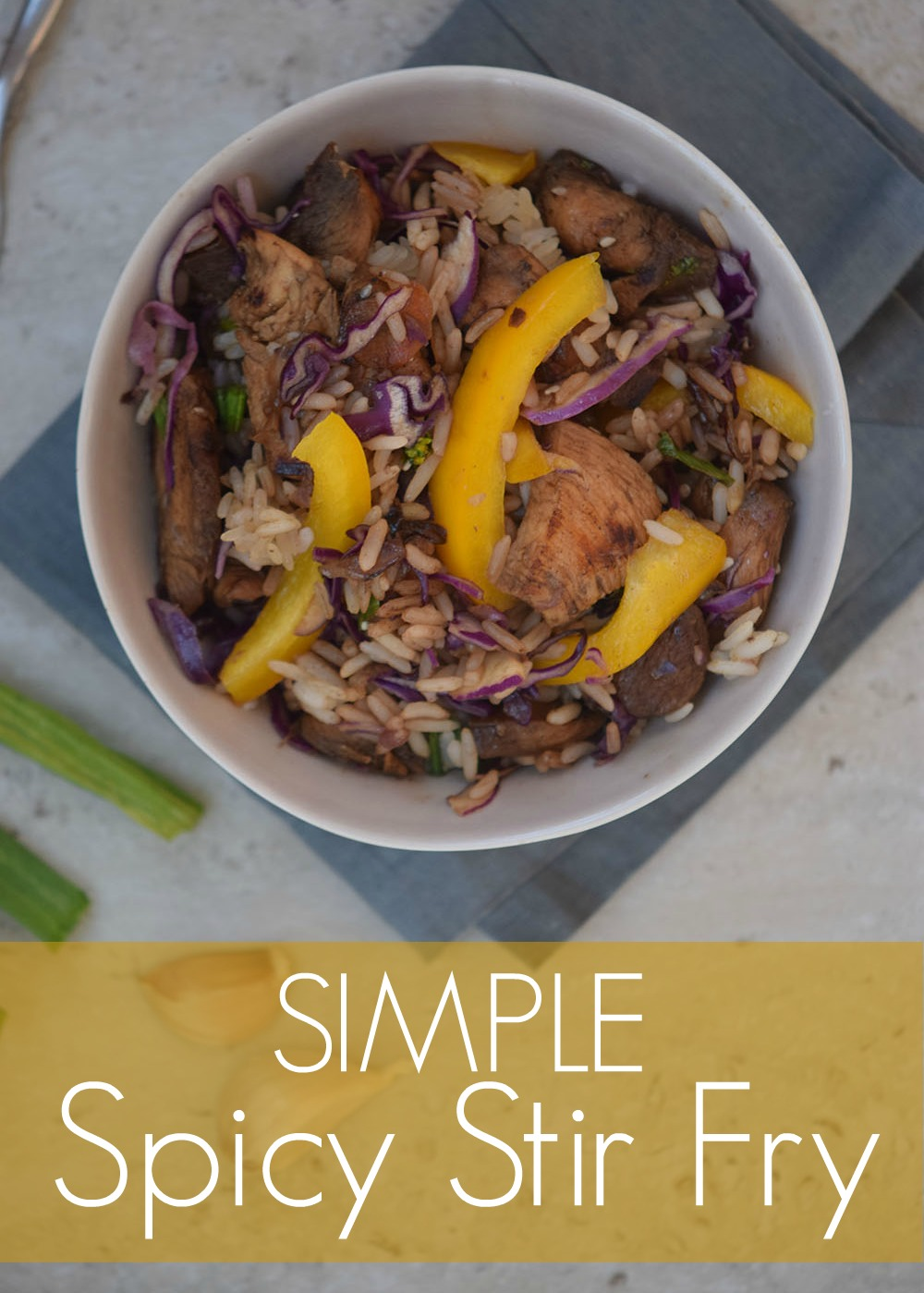 Red chili pepper flakes add spice to this flavorful and simple stir fry with chicken, peppers, onion, and cabbage.