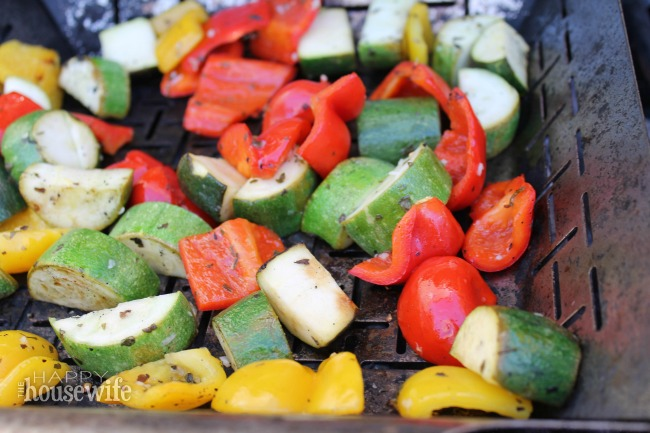 One the best things about these marinated Grilled Veggie Kabobs is that they're equally delicious hot or cold. And your kids can help chop the veggies!