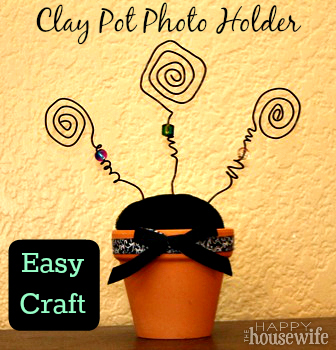Easy Craft: Clay Pot Photo Holder Tutorial | The Happy Housewife