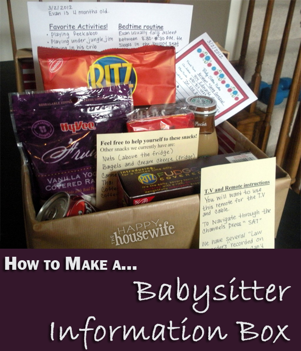 Babysitter Information Box | The Happy Housewife