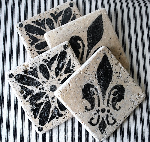 stenciled-marble-coasters-ticking