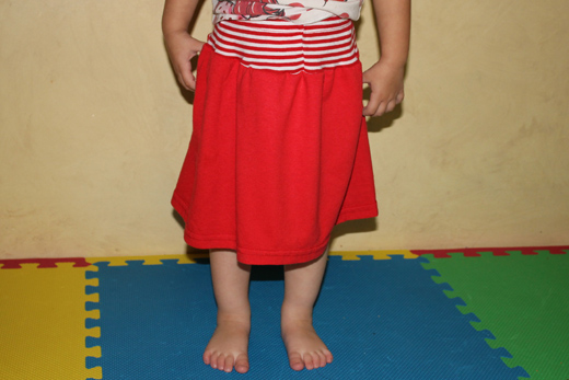 Toddler Skirt from Pants and T-Shirt (step 9) | The Happy Housewife