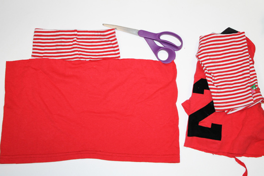 Toddler Skirt from Pants and T-Shirt (step 3) | The Happy Housewife