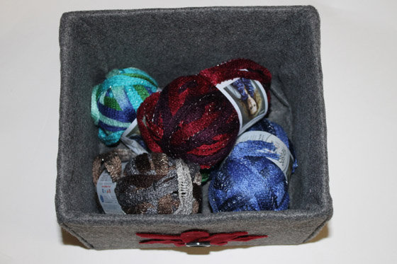 Felt Covered Box filled with yarn