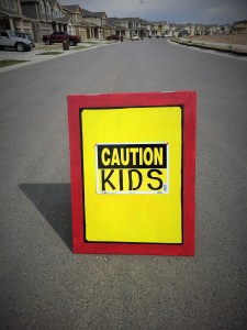 DIY Caution Sign for Child Safety at The Happy Housewife