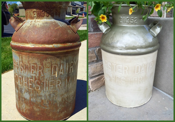 Milk Can Makeover Before and After at The Happy Housewife