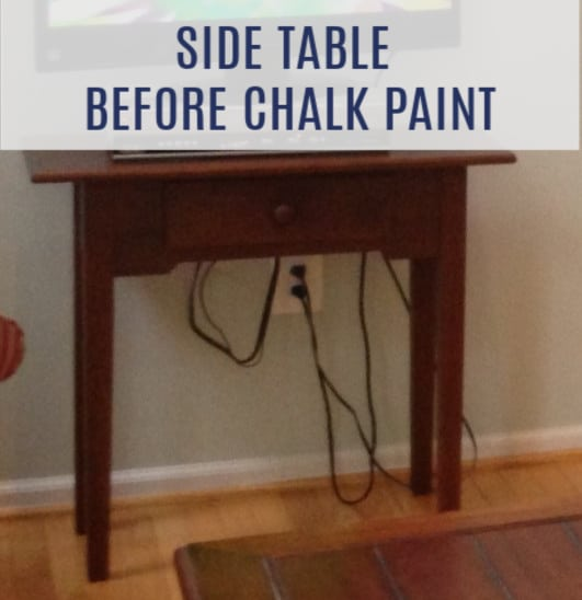 side table before chalk paint