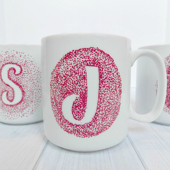 These personalized Sharpie dot mugs are easy enough for younger children to make and sophisticated enough for adults to appreciate.  - 100 Days of Homemade Christmas Gifts at The Happy Housewife