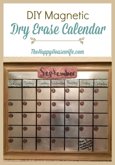This DIY Magnetic Dry Erase Calendar allows you to color code with different dry erase markers, and you can give it a different look each month. Found at The Happy Housewife