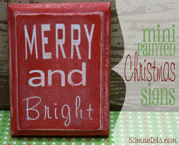 These Mini Christmas Signs are fun and versatile. Homemade Christmas Gifts at The Happy Housewife
