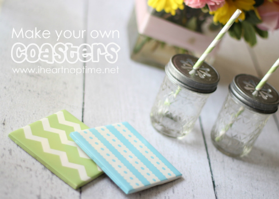 Coasters are a practical gift that can also be fun if they look like these tile coasters. Use a color and design to fit your recipient's style. - 100 Days of Homemade Christmas Gifts at The Happy Housewife