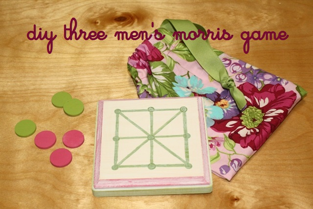 Kids love games, and games make terrific homemade gifts. You can learn how to make and play this 3 Men's Morris game. 100 Days of Homemade Christmas Gifts at The Happy Housewife