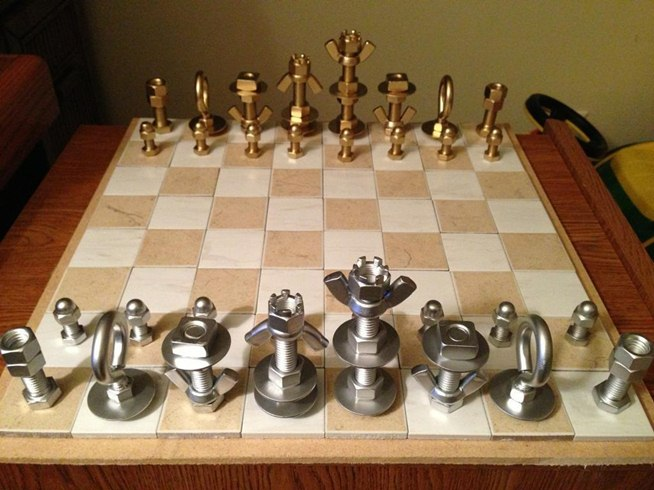 Nuts and Bolts Chess set from MacGyverisms - 100 Days of Homemade Christmas Gifts at The Happy Housewife