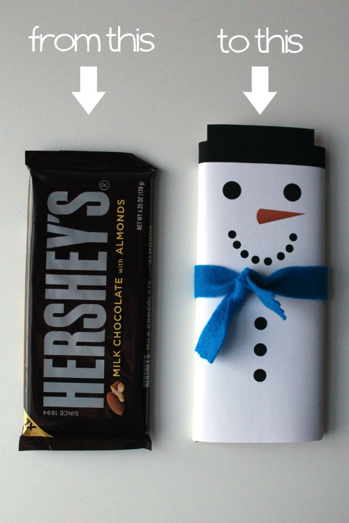 For a quick and easy last minute gift that everyone likes, turn a chocolate bar into a cute snowman. Grab your free candy bar wrapper template.