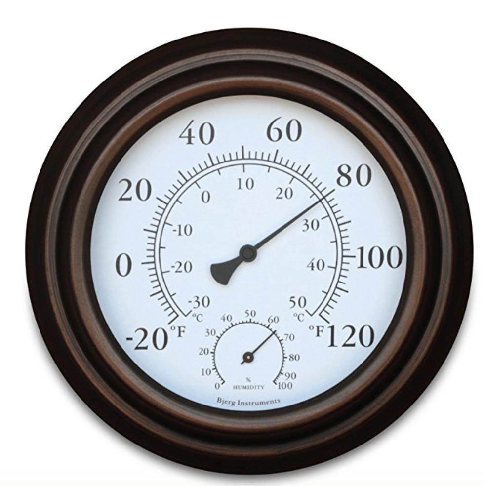 indoor outdoor metal thermometer hygrometer