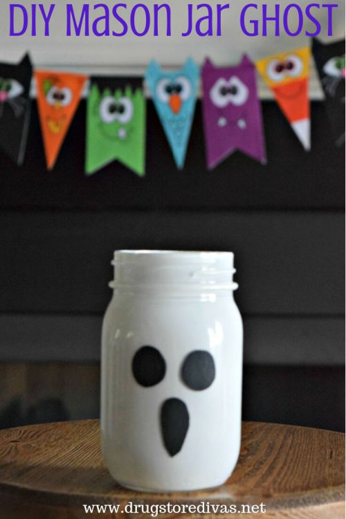 painted mason jar craft ghost