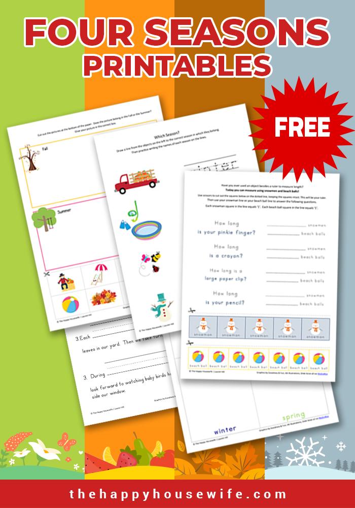 Four seasons printable worksheets- free download