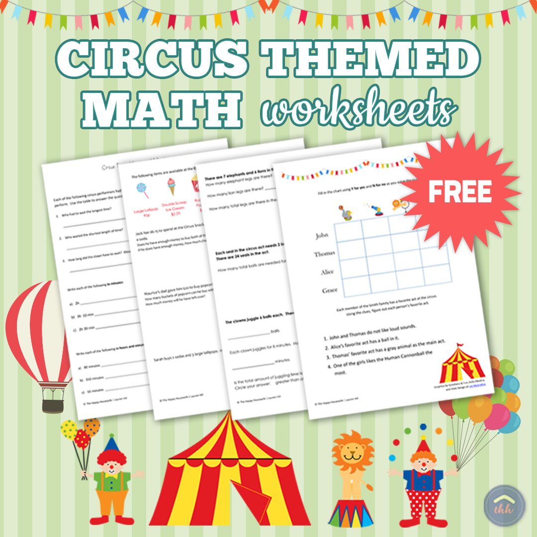 Circus Themed Math Worksheets Free Printables