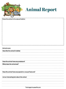 Animal Report Free printable worksheet