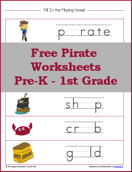Pirate Worksheets: Free Printables | The Happy Housewife