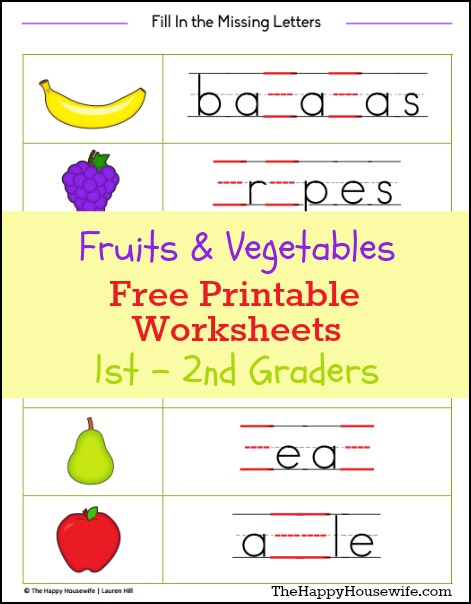 Fruits and Vegetables Worksheets: Free Printables | The Happy Housewife