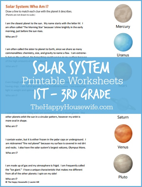 Solar System Worksheets: Free Printables | The Happy Housewife