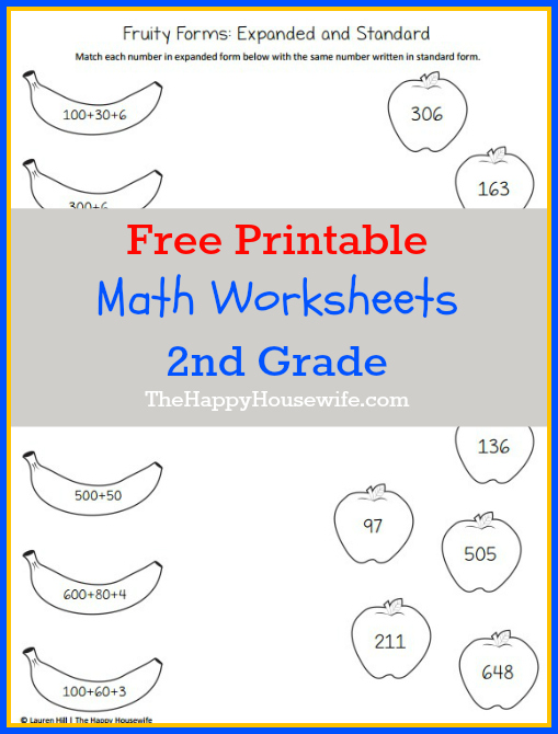 Math Worksheets for 2nd Grade: Free Printables at The Happy Housewife