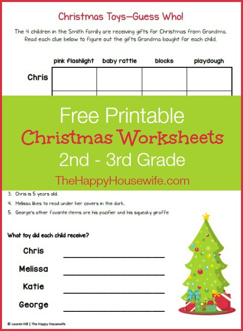 Christmas Themed Worksheets: Free Printables at The Happy Housewife