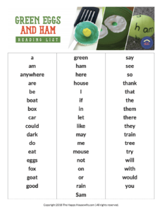 green eggs and ham word list pdf