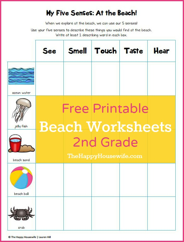 Free Printable Beach Themed Worksheets at The Happy Housewife