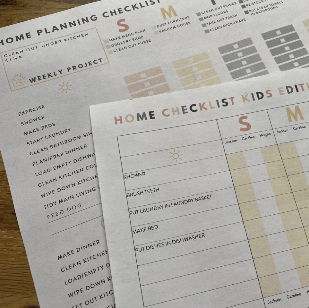 Home planner chore checklist