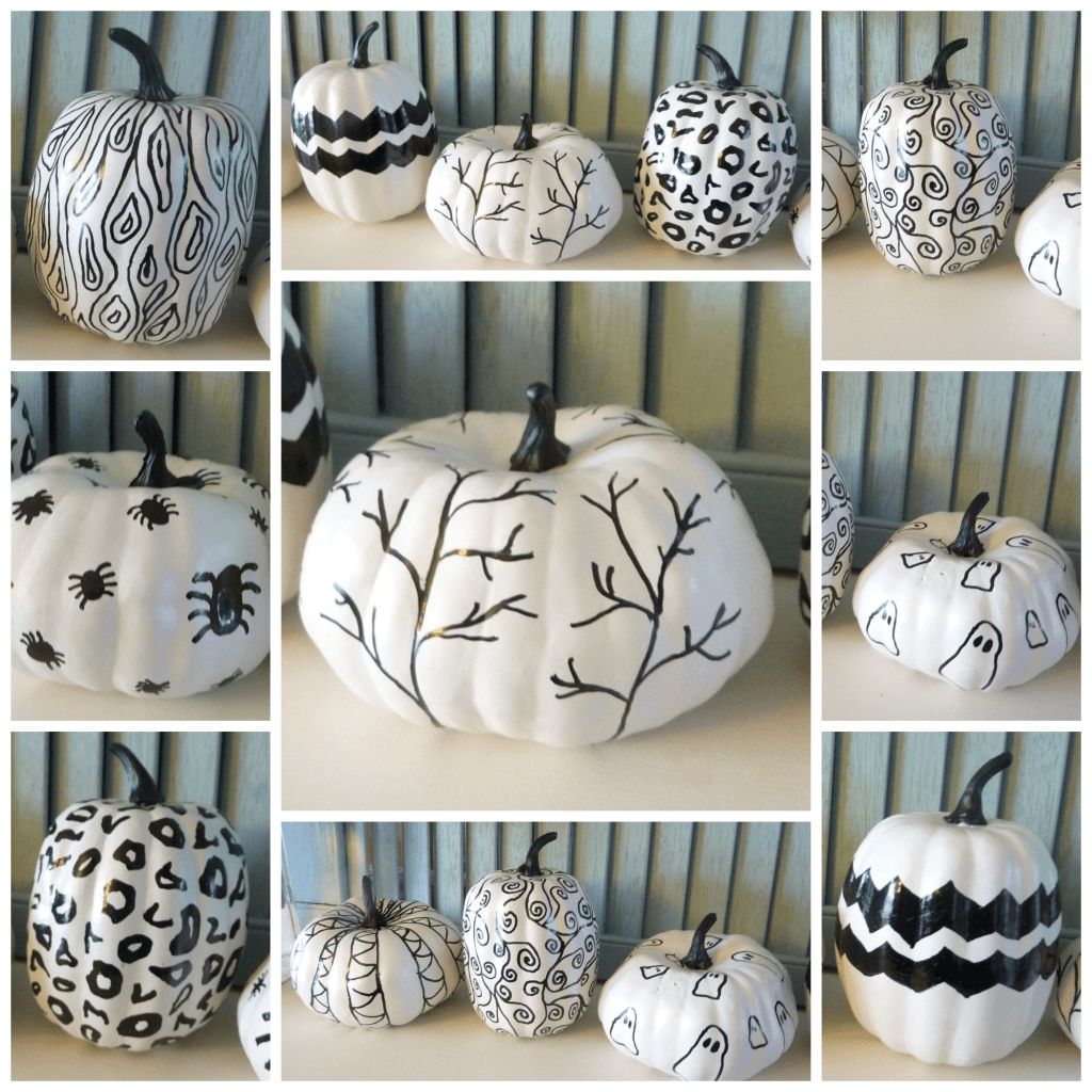 Black and White Hand Sketched Sharpie Pumpkins at thehappyhousie collage