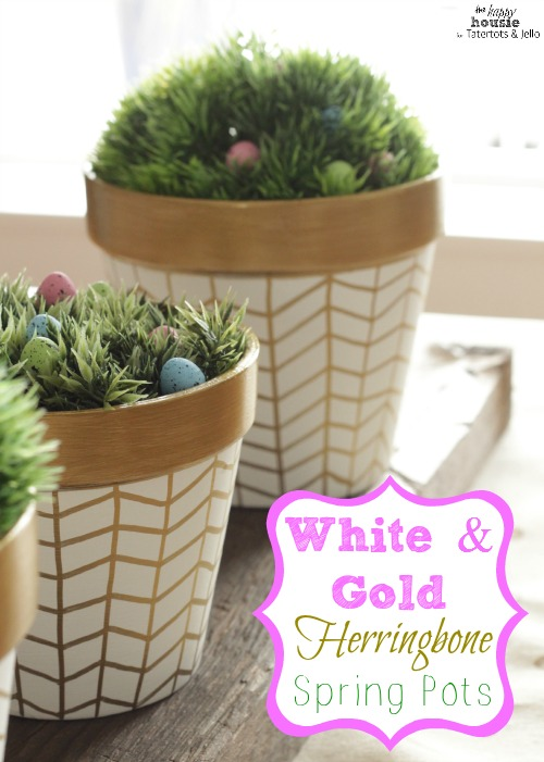 White and Gold Herringbone Spring Pots main by the happy housie for tatertots and jello