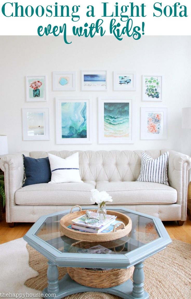 a light coloured sofa even with kids